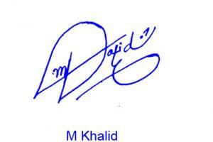 M Khalid Signature Style